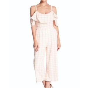 Nordstrom Blush Wide Leg Gingham Jumpsuit Sz 6